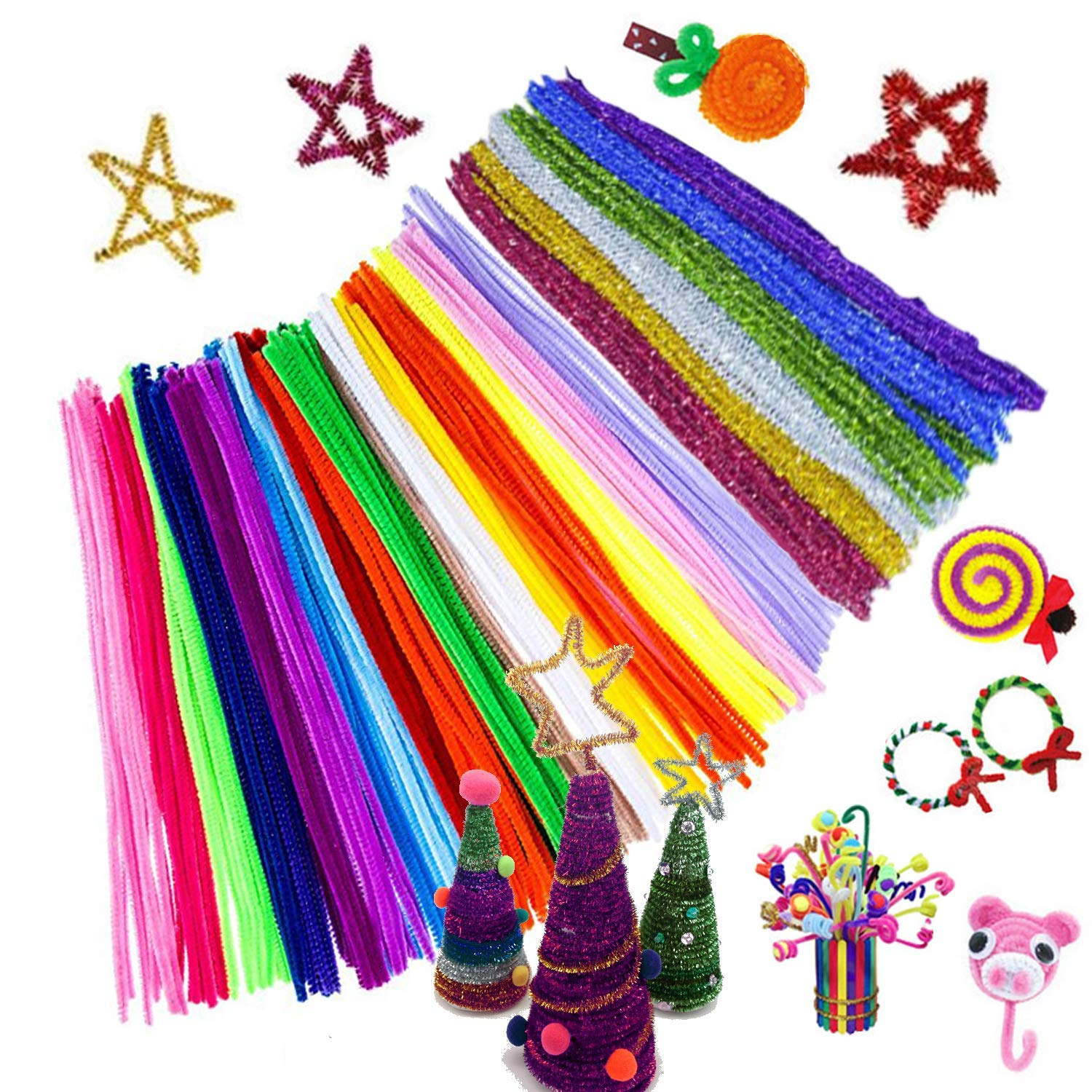 Pipe Cleaners, 600 Pieces Assorted Colors Chenille Stem Set for DIY Art Craft 30 Colors Available (0.24x 12) Dshengoo