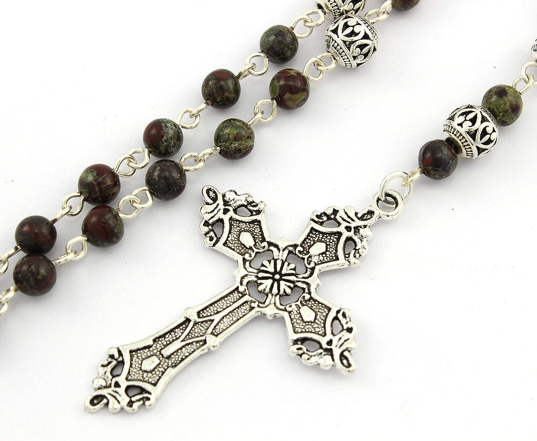 Canterbury Cross Anglican Prayer Beads of Red Vein Jasper