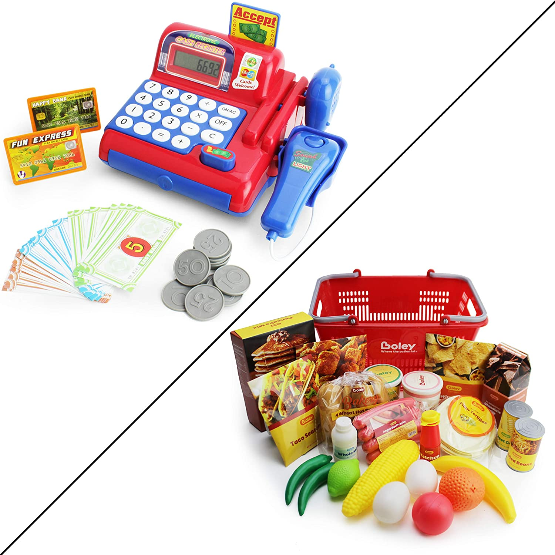 Boley Toy Cash Register & Play Food Groceries - Super Market Bundle!