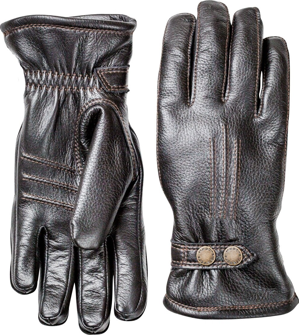 Hestra Mens Leather Gloves: Tallberg Winter Cold Weather Gloves, Black, 10