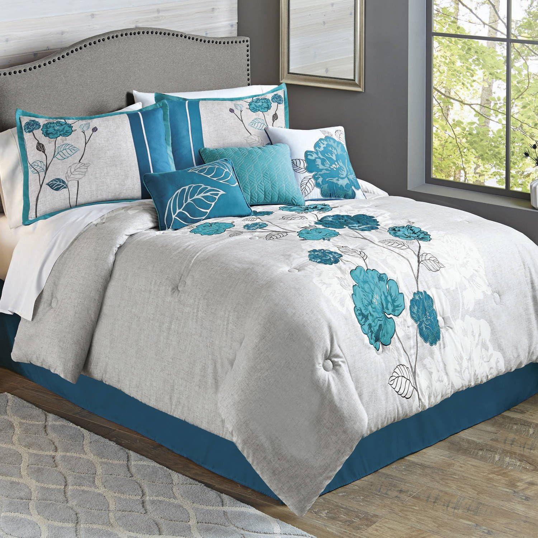 Red//Gray SizeFull//Queen NEW Hallmart Collectibles 8-Pc Comforter Set