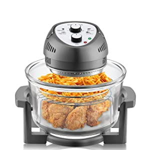 Big Boss Oil-less Air Fryer, 16 Quart, 1300W, Easy Operation with Built in Timer, Dishwasher Safe, Includes 50+ Recipe Book - Graphite