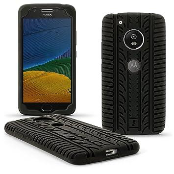 igadgitz Negro Neumático Silicona Gel Goma Funda Carcasa per Motorola Moto G 5ª Generación (Lenovo Moto G5) Case Cover + Protector Pantalla
