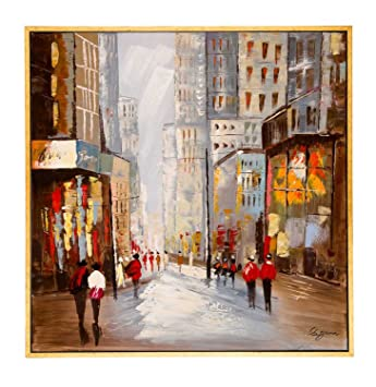 Original Ölgemälde Moderne Stadt City Personen Leinwand 104x104cm