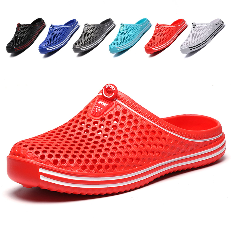 Garden Clogs Shoes Womens Mens Mesh Quick Drying Beach Sandals Red 36