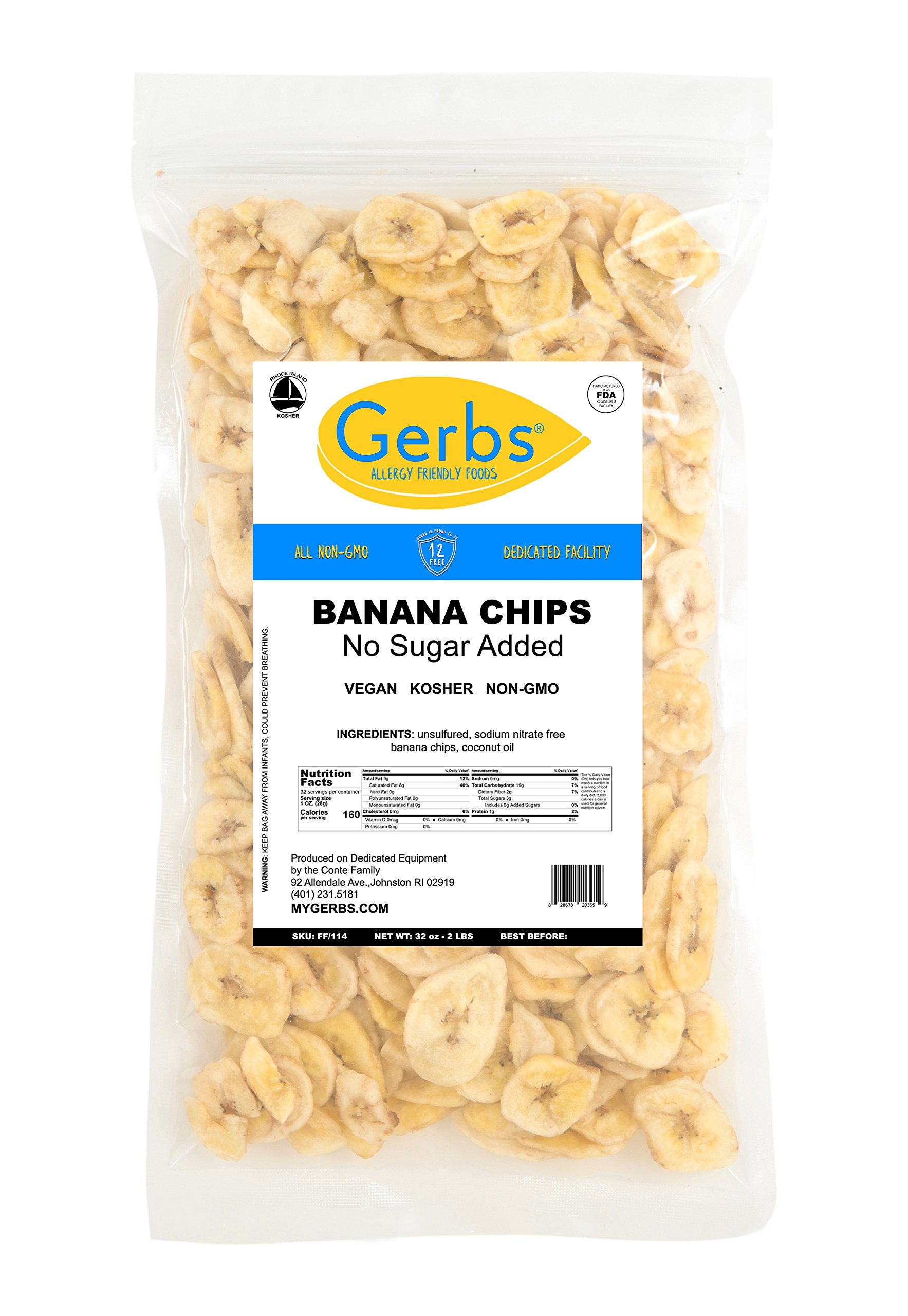 Banana Chips Unsweetened, 2 LBS – Unsulfured & Preservative Free - Top 12 Allergy Friendly & NON GMO by Gerbs - Product of Philippians