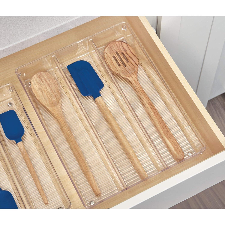 iDesign Cubertero para dividir cajones, separador de cajones grande de plástico para cubiertos y otros utensilios, organizador de cajones con 3 ...