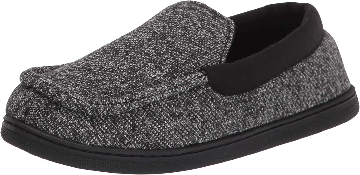 Hanes Kids' Moccasin House Shoe with Indoor Outdoor Memory Foam Sole Fresh Iq Odor Protection Slipper