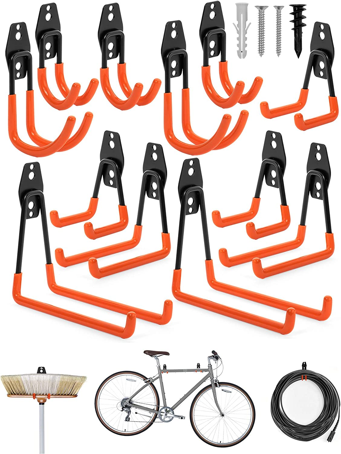 Garage Storage Hooks Heavy Duty Pack of 12 - Garage Wall Hooks for Hanging to Stay Organized - Hooks for Garage Storage Wall Mount for Ladder, Folding Chair, Bikes, Ropes - Garden Tool Hangers