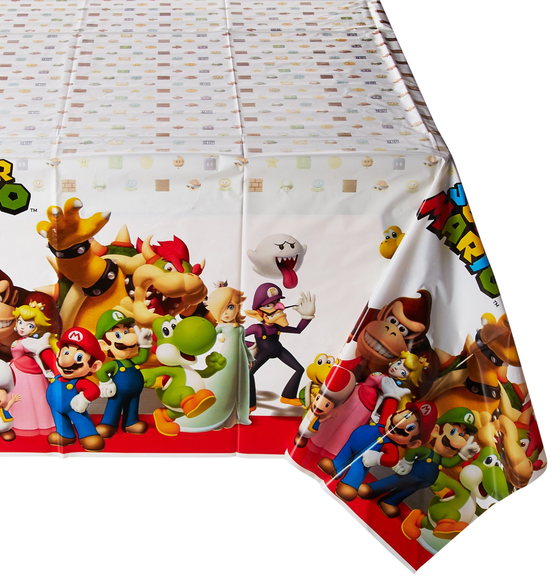 amscan Super Mario Brothers Plastic Table Cover, Party Favor, 6 Ct.