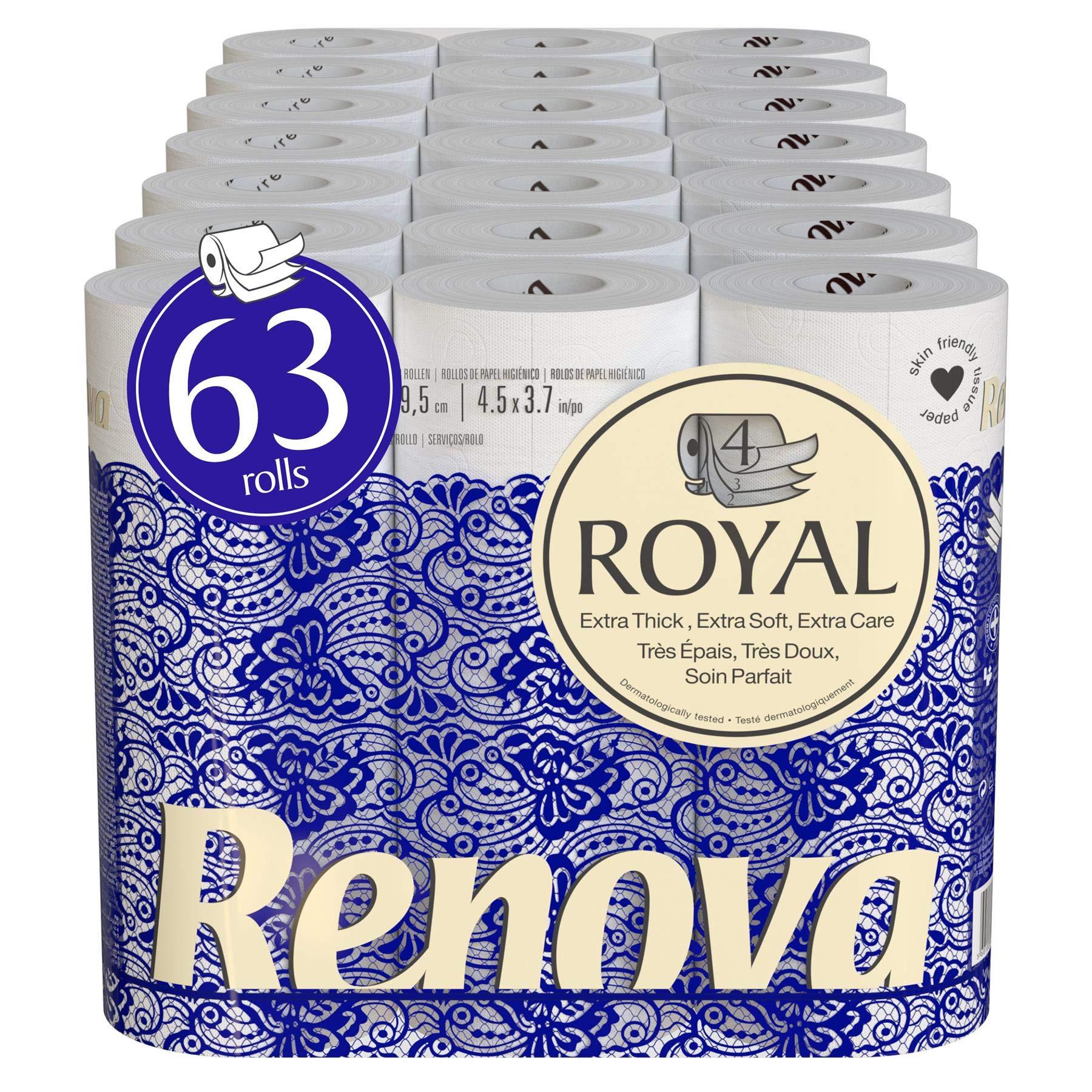 Renova Royal 63 Rolls - 4 Ply Soft Luxury White Toilet Paper Tissue Rolls