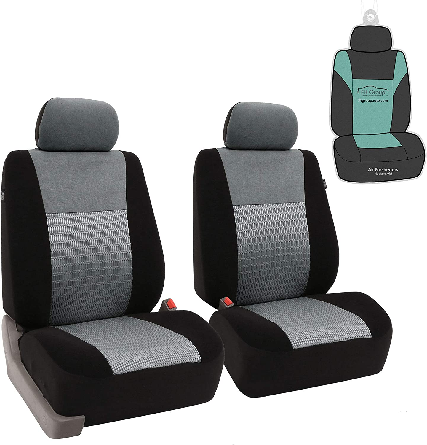 FH Group FB060102 Trendy Elegance Pair Set Bucket Car Seat Covers, (Airbag Compatible) w. Gift, Gray/Black Color-Fit Most Car, Truck, SUV, or Van