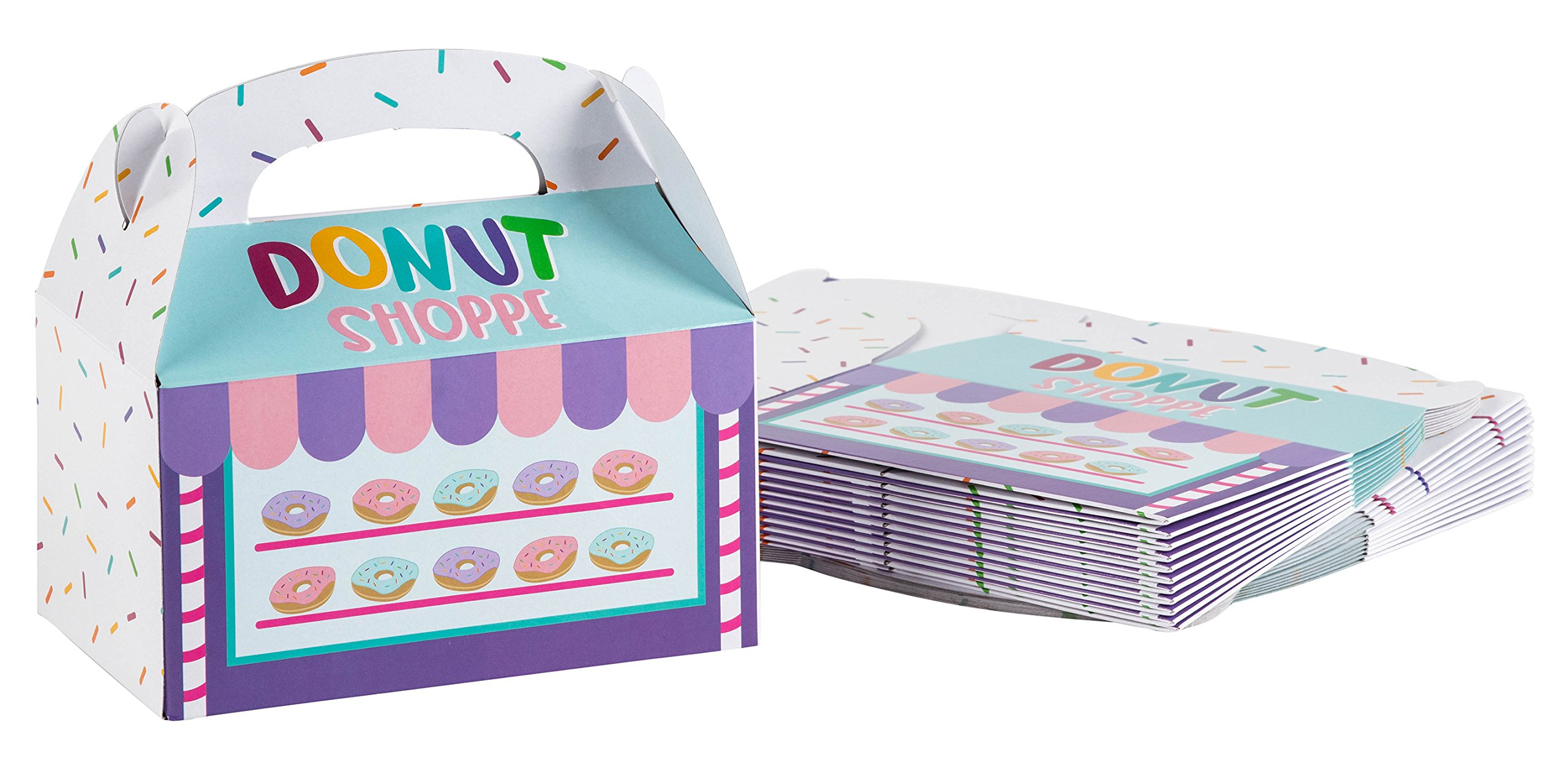 Treat Boxes - 24-Pack Paper Party Favor Boxes, Donut Shop Design Goodie Boxes for Birthdays and Events, 2 Dozen Party Gable Boxes, 6 x 3.3 x 3.6 inches