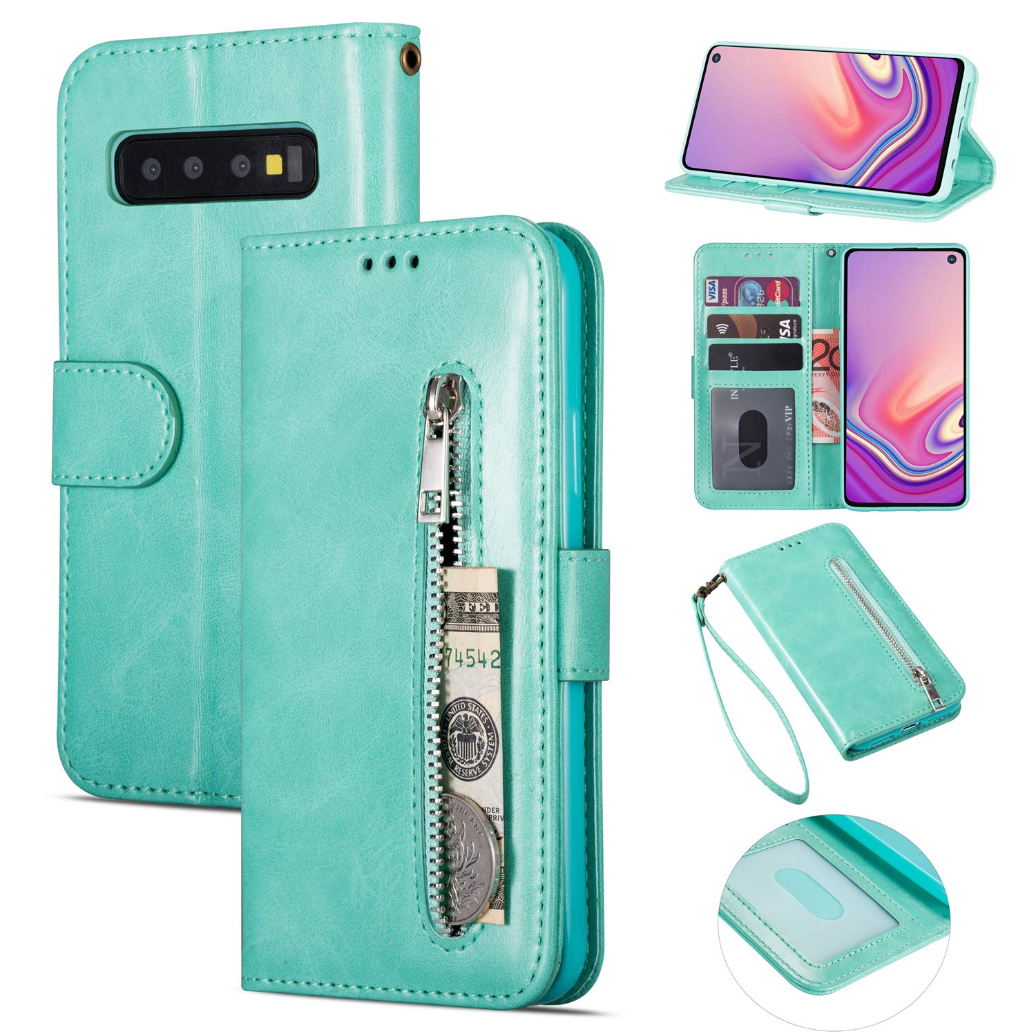 Zipper Wallet Case with Black Dual-use Pen for Samsung Galaxy S10 Plus,Aoucase Money Coin Pocket Card Holder Shock Resistant Strap Purse PU Leather Case for Samsung Galaxy S10 Plus - Mint Green