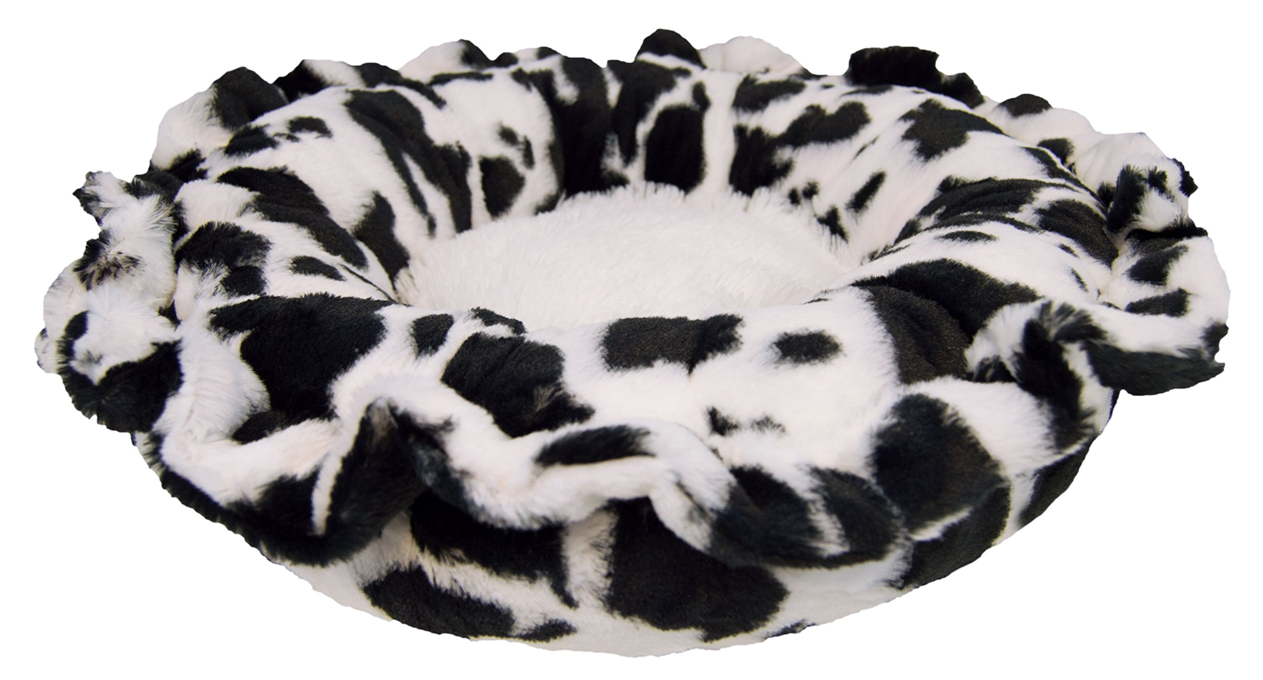 BESSIE AND BARNIE Ultra Plush Spotted Pony/Snow White (Patch) Luxury Shag Deluxe Dog/Pet Lily Pod Bed by BESSIE AND BARNIE