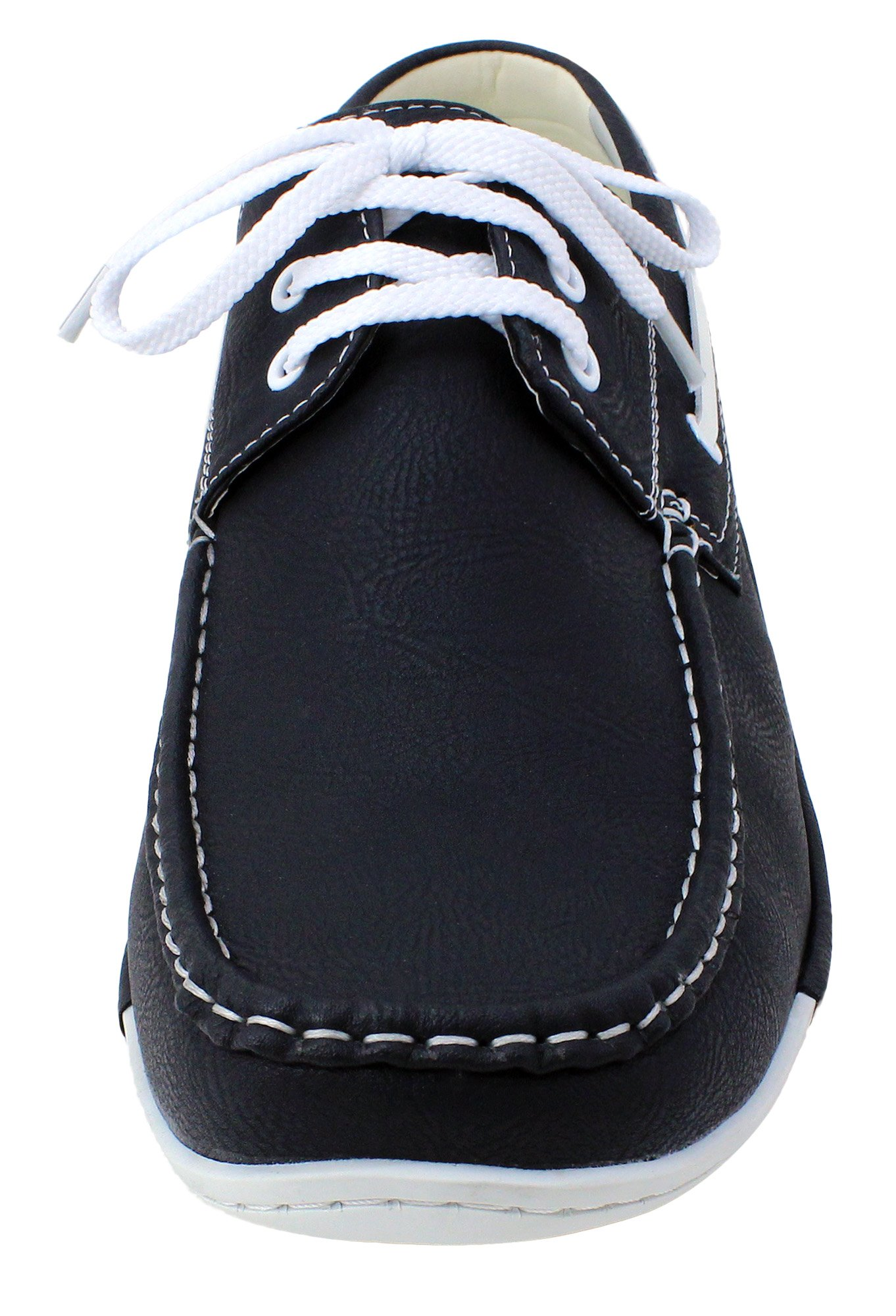 Enimay Men's Free Slip-On Loafer Boat Shoe PU Leather Fine Crafted Lounge Black White 8.5 by Enimay (Image #2)