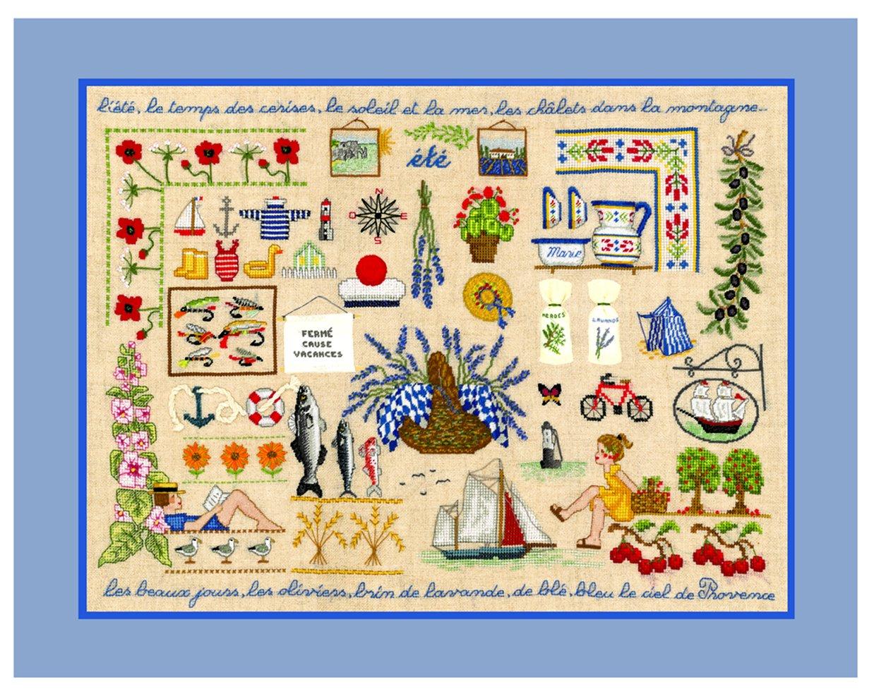 【ルボヌールデダム】 クロスステッチ刺繍キット 1136 Ete 夏 (DMC刺繍糸) B00Z30RH9Y