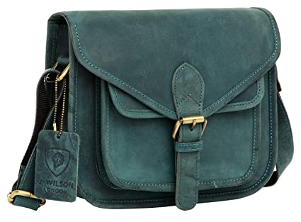J. Wilson London - Bolso Estilo Cartera para Mujer Azul Distressed Blue Medium