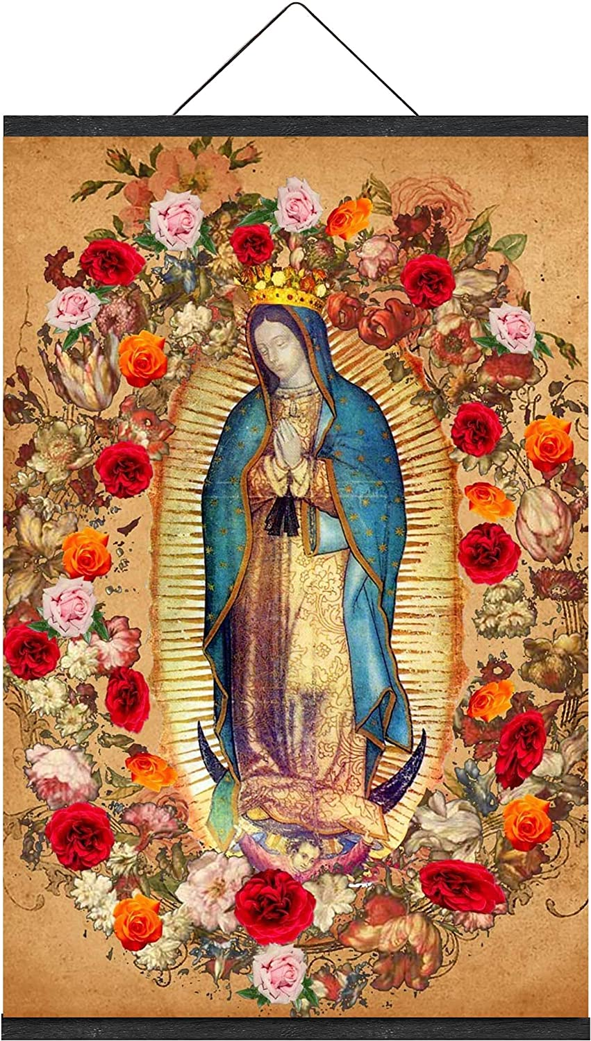 Virgin Mary Our Lady of Guadalupe Mexican la Virgen de Art Print Poster Picture Religious Image Holy Painting Catholic Christian Poster Magnetic Hanging Frame Changeable & Resuable (10 x 15 Inch)
