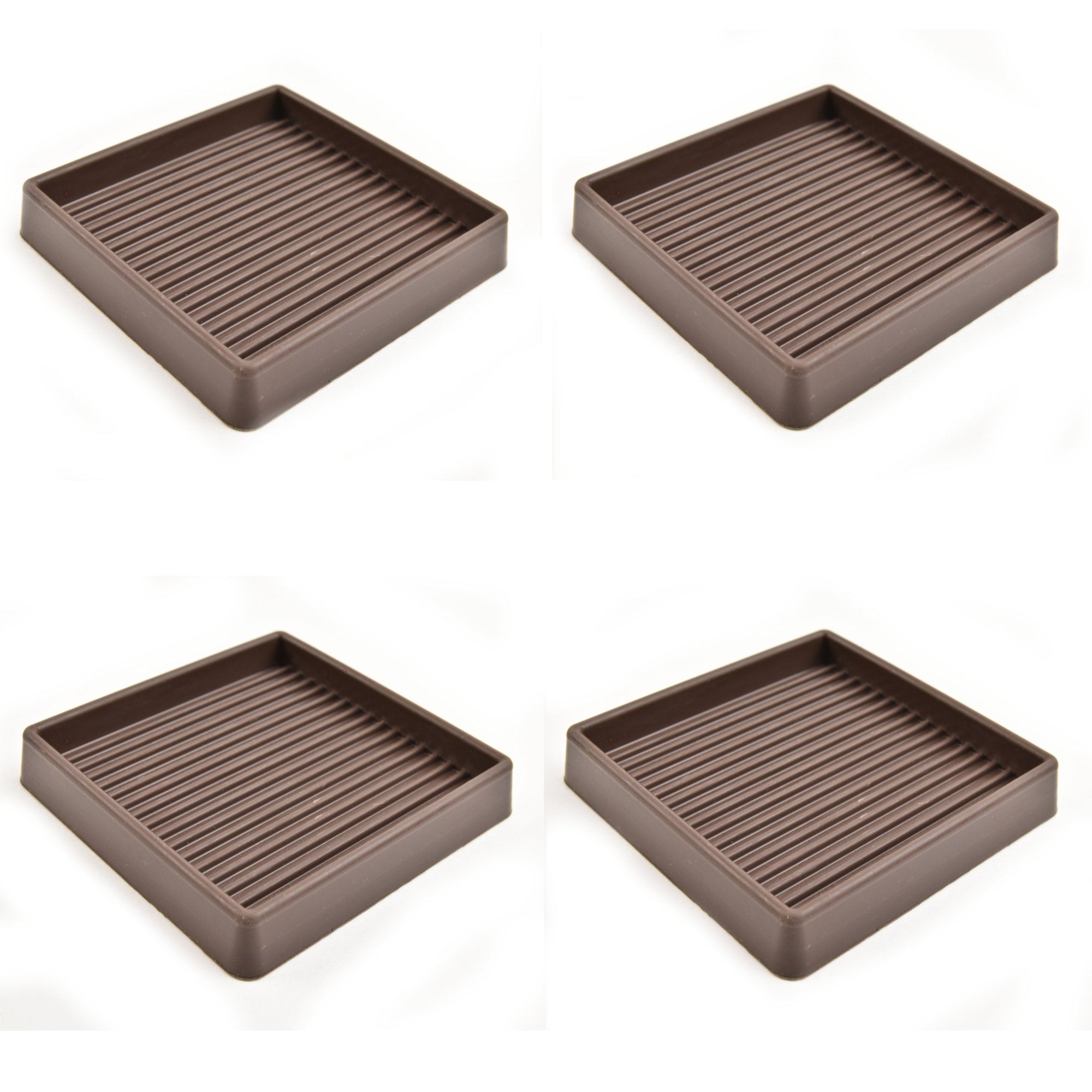 Set of 4 -Caster cups Rubber 3'' x 3'' - Brown by Combo Solutions (Image #2)