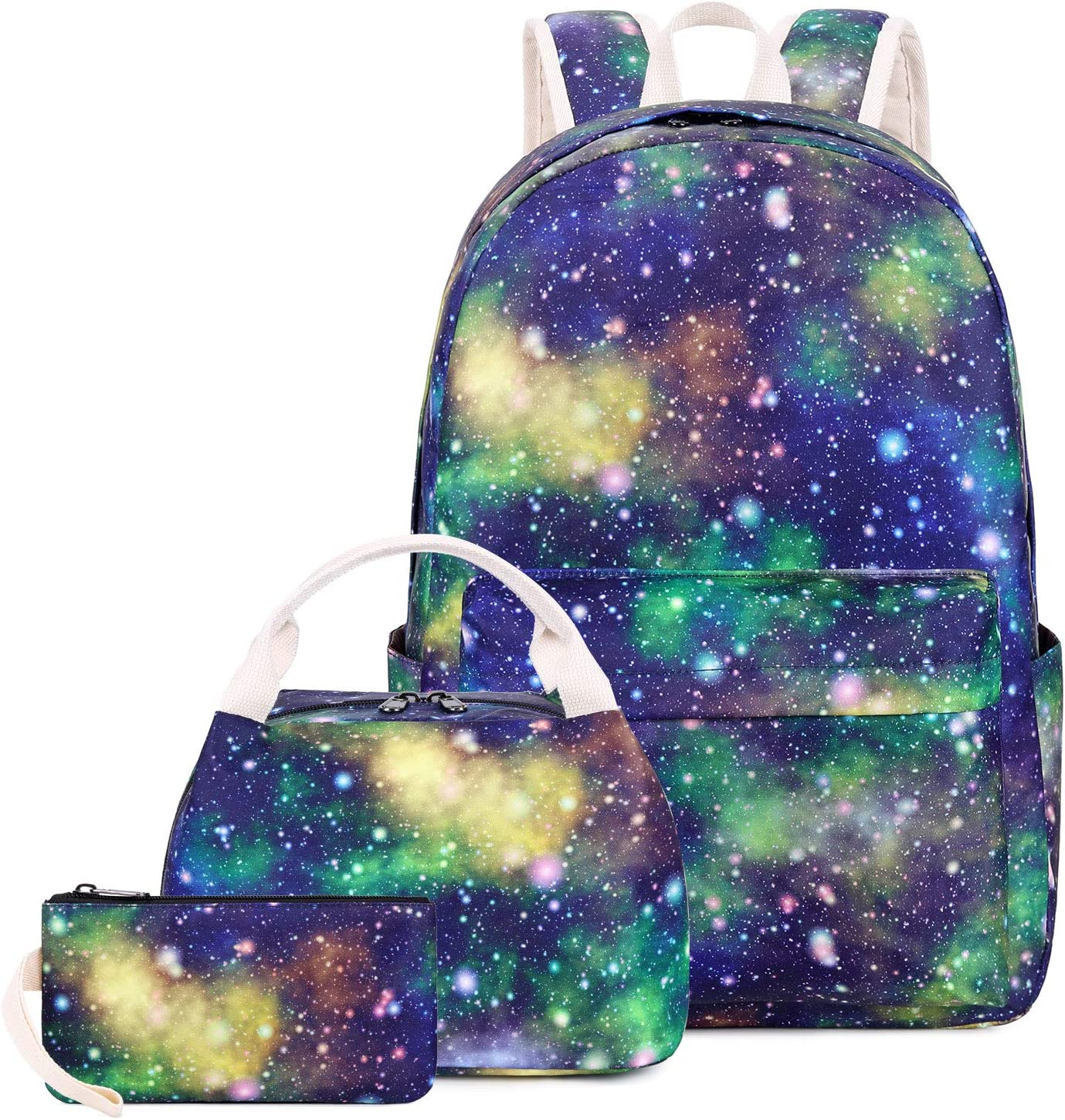 "Blue Galaxy backpack Set for Boys and Girls, Waterproof School Bookbag Fits 14"" Laptop Backpack Daypack with Lunch Box and Pencil Case"