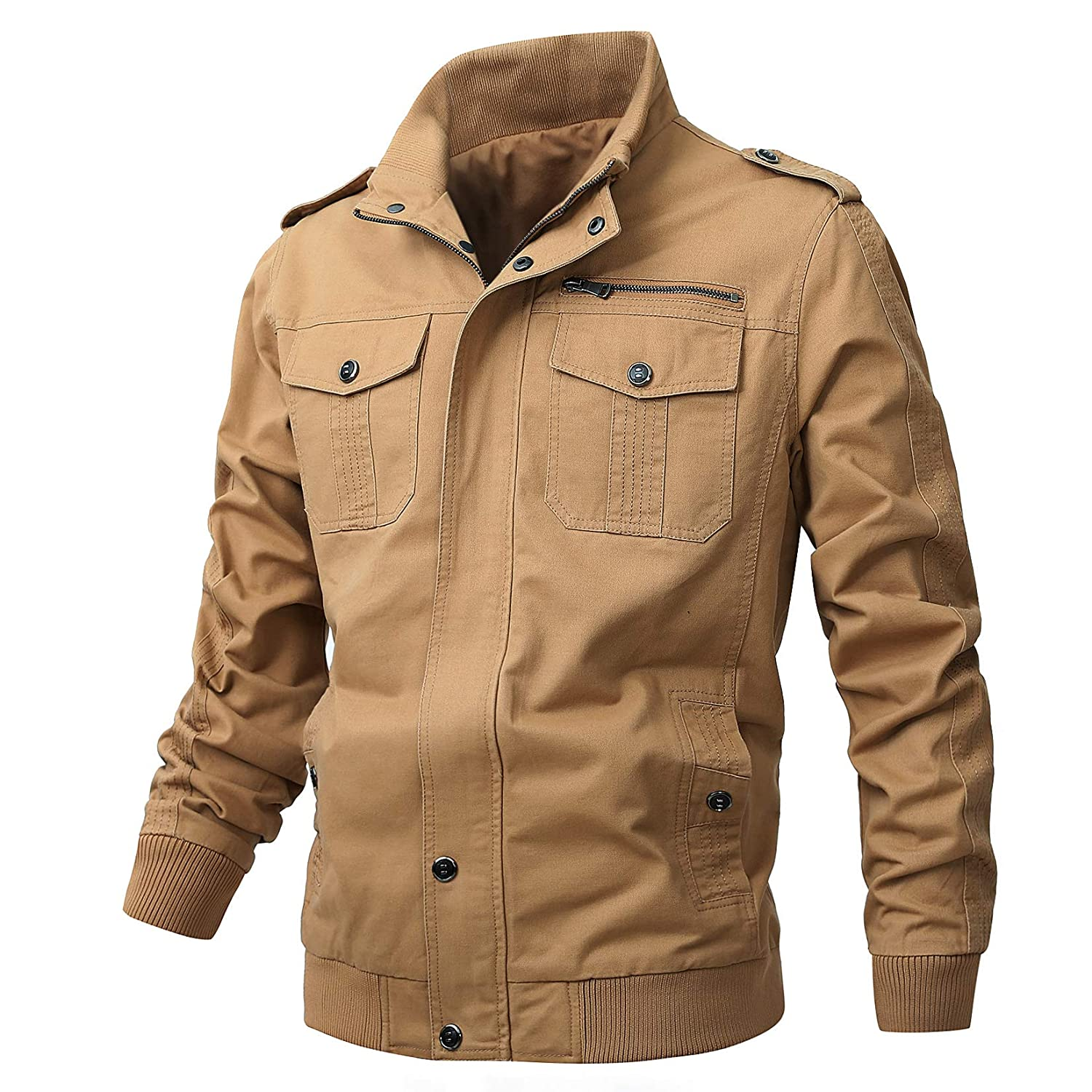 Ousui Casual Coat Soild Cotton Full Zip Windbreaker Outdoor Windproof Military Jacket for Men