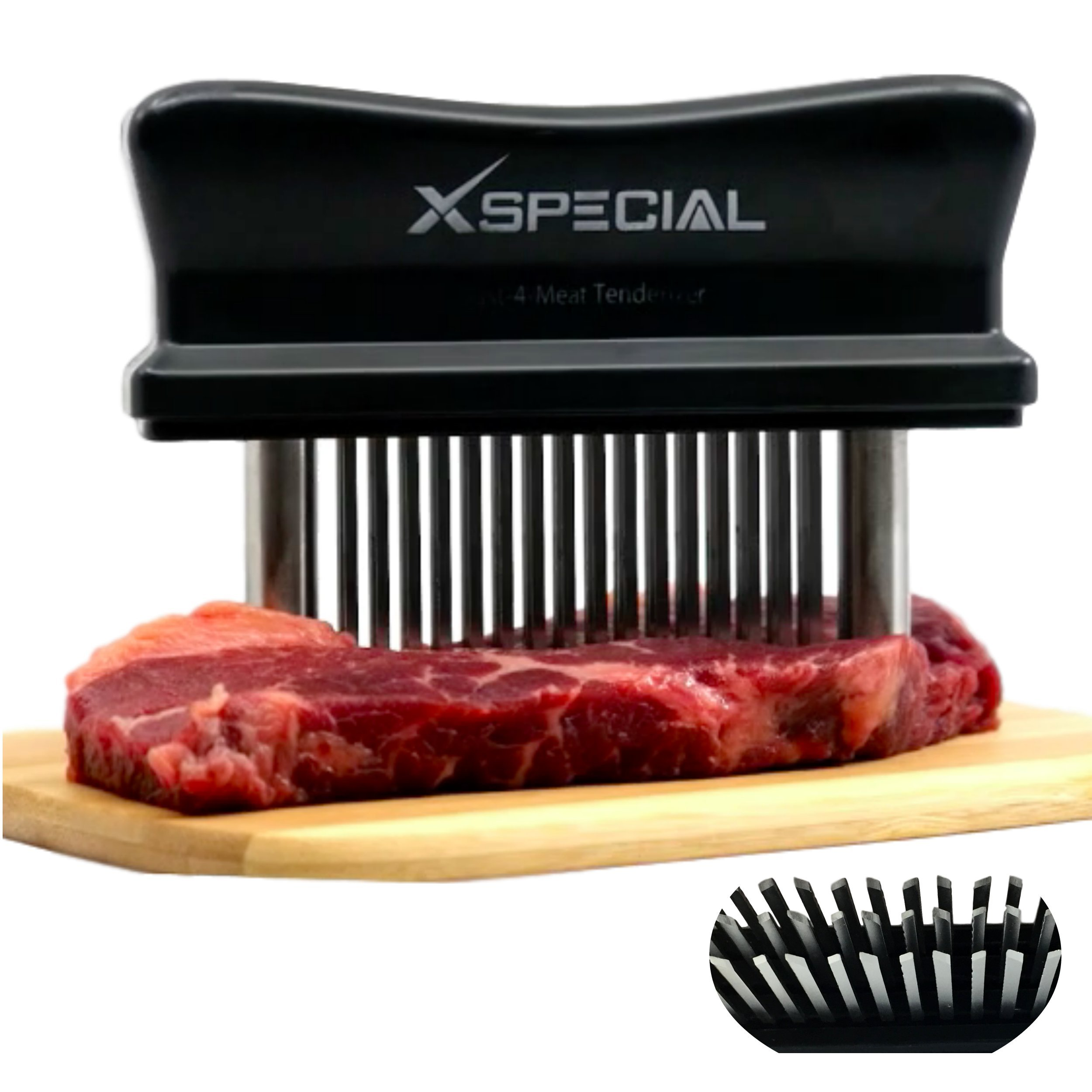 XSpecial Meat Tenderizer Tool - TRY IT NOW,Taste The Tenderness or REFUNDED > Kitchen Gadget Tenderizers 48 Blades Stainless Steel Needle = Best For Tenderizing,BBQ,Marinade & Flavor Maximizer