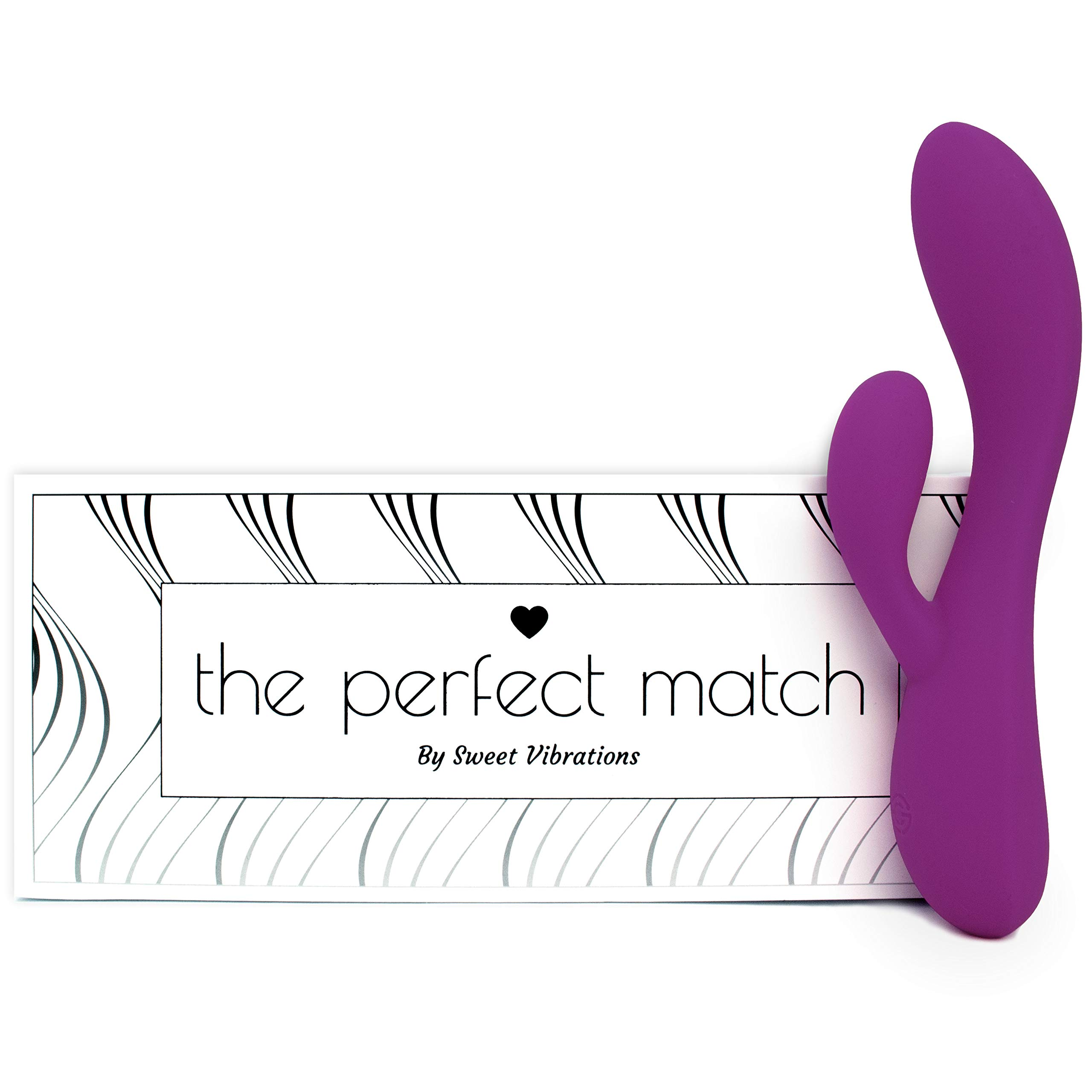 The Perfect Match - Flexible Rabbit Vibrator Sex Toy with 10 Powerful Settings for Women & Couples, Waterproof, Rechargeable, Quiet, by Sweet Vibrations (Lavender)