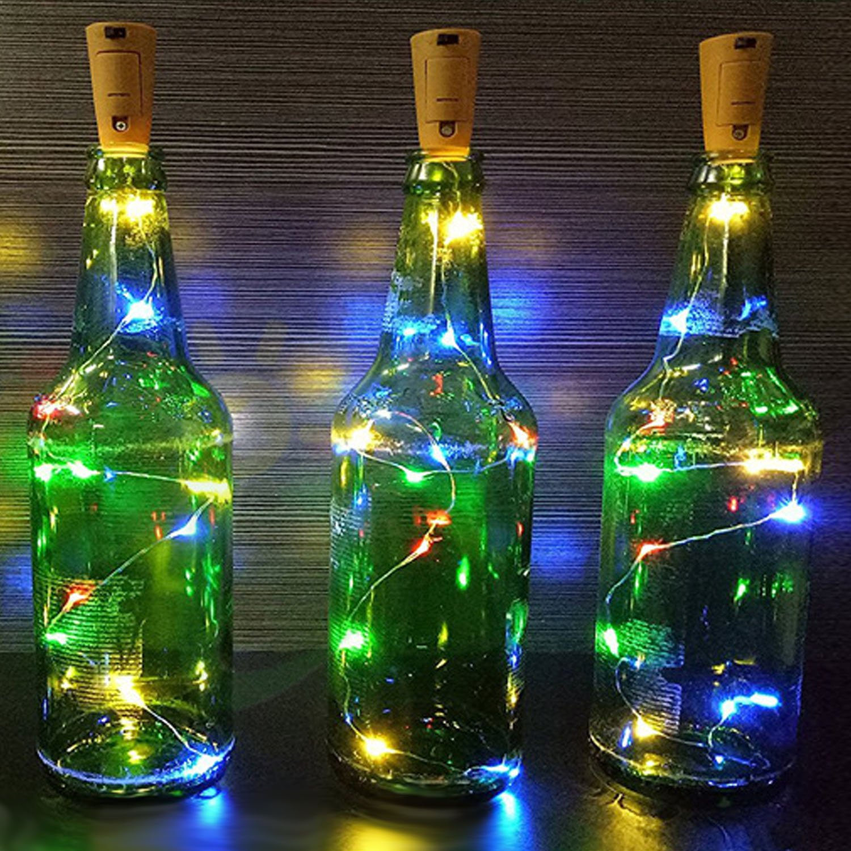 BEETEST Corcho Luces Botella Luces de Hadas 2 m 20 LED Cork botella de vino en forma de cadena estrellada luces de alambre decoración de batería operado ...