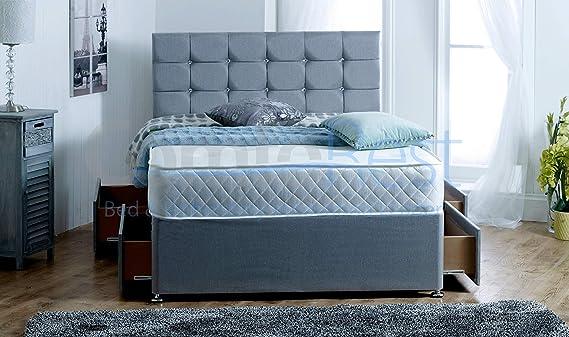 4 Drawers Paris Grey Fabric Divan Bed Set with Memory Mattress and headboard
