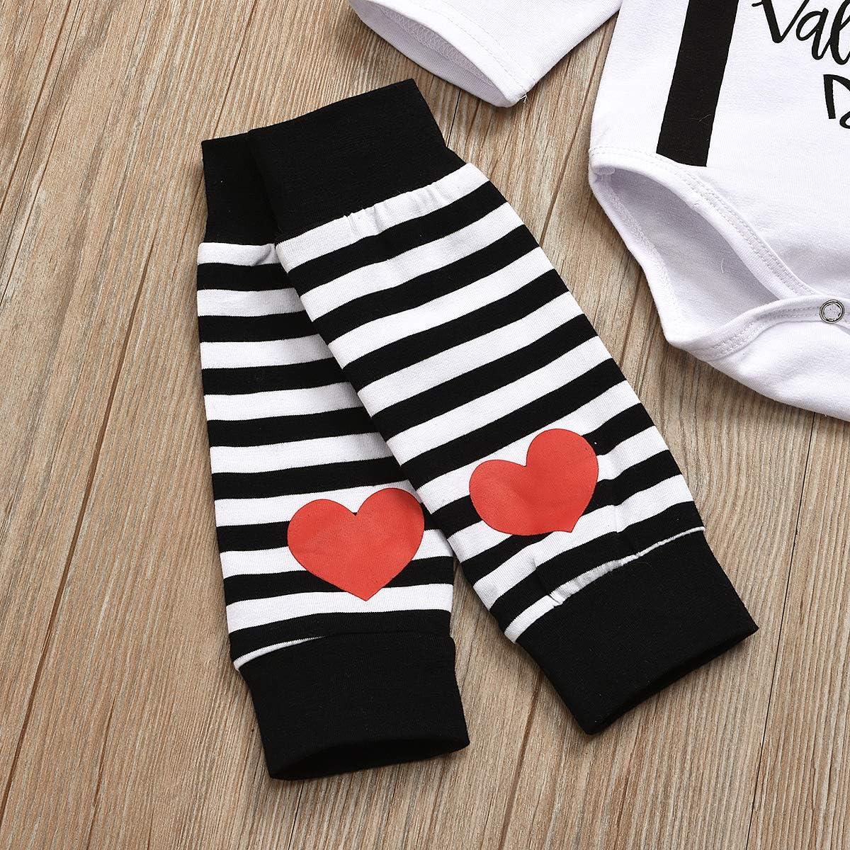 GRNSHTS Newborn Baby Boys Girls My First Valentines Day Romper+Leg Warmers 2Pcs Valentines Day Outfit Set