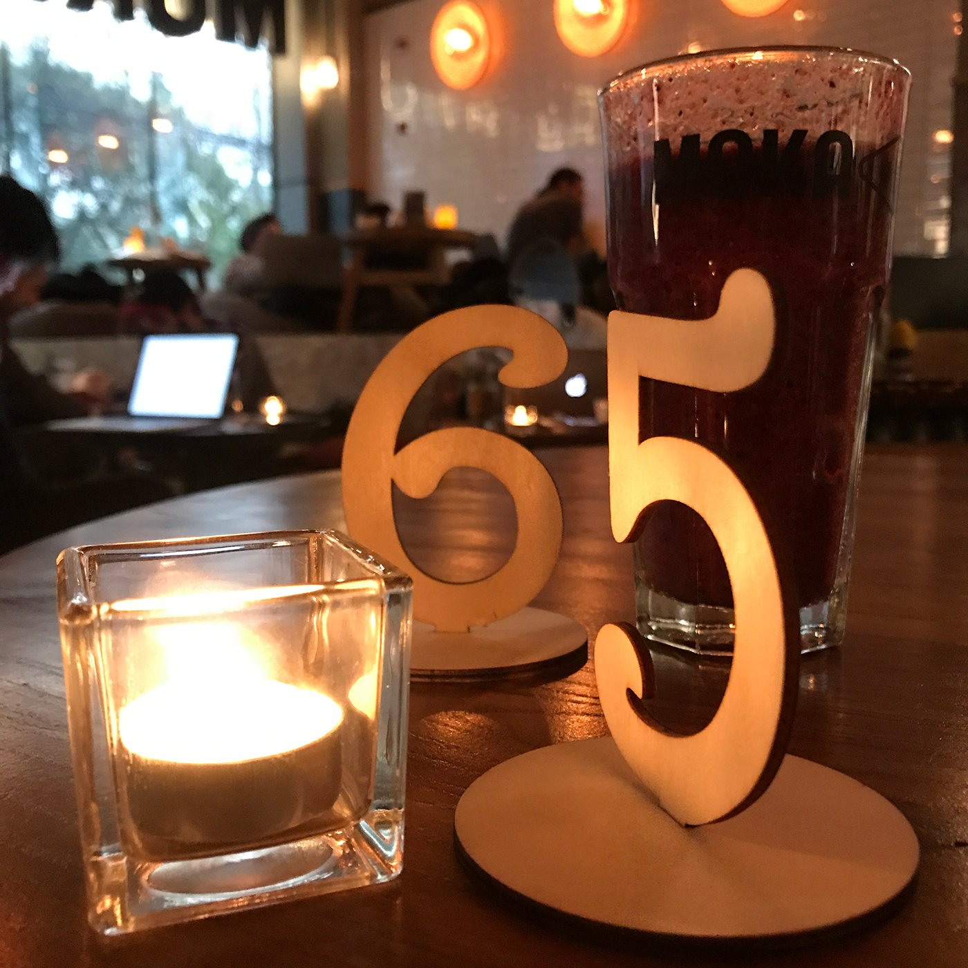 Wooden Big Visible Table Numbers 1 - 20 with Holder Base by LeisureQ (Image #6)