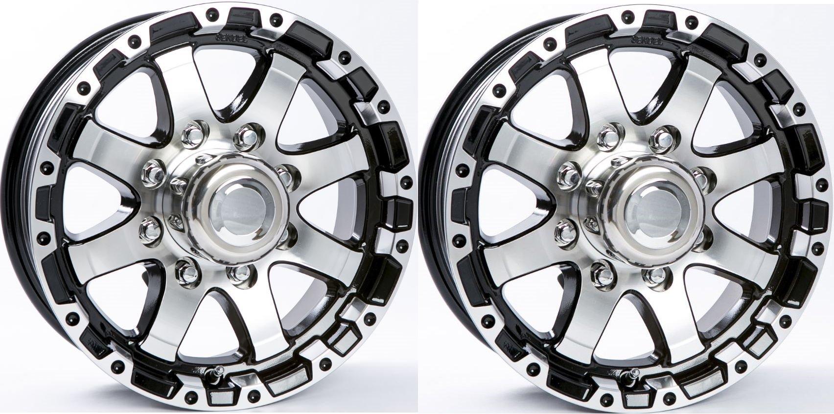 TWO (2) Aluminum Sendel Trailer Rims Wheels 8 Lug 16'' T08 Silver/Black Style by eCustomRim (Image #1)