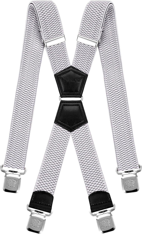 Unisex Suspenders Adjustable Trouser Braces Clip Fashion Plain Clothes Braces