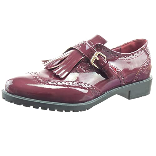 Sopily - Zapatillas de Moda Mocasines Bailarinas Tobillo Mujer Perforado Hebilla Patentes Talón Tacón Ancho 3 CM - Rojo WLD-8-L01-3 T 41: Amazon.es: Zapatos ...