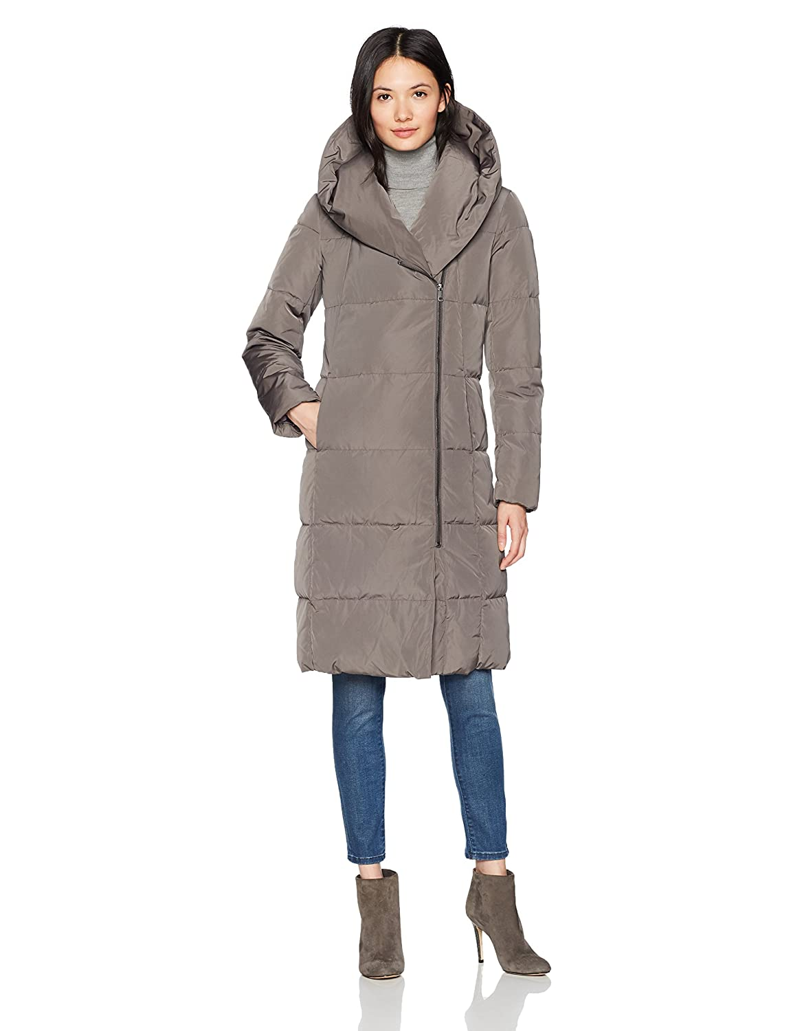 Cole Haan Womens Taffeta Down Double Breasted Zip Front Coat Down Outerwear Coat