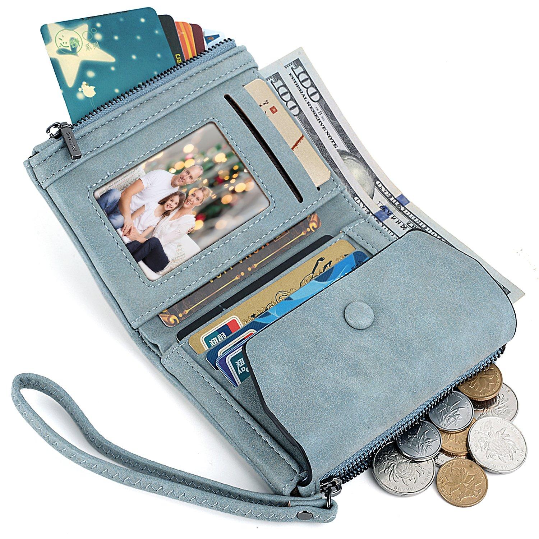UTO Women Wristlet Small Wallet Compact Matte PU Leather Card Slot Zipper Coin Holder Purse Blue