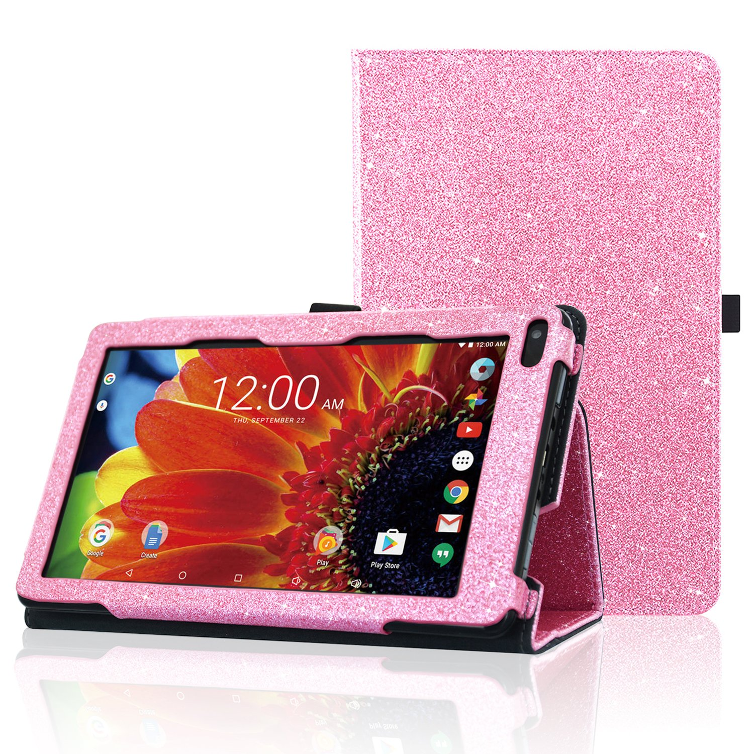 ACdream RCA Voyager 7 Case, Folio Premium PU Leather Cover Case for RCA Voyager 7'' 16GB/8 GB Tablet Android 6.0 (Marshmallow), Pink Star of Paris