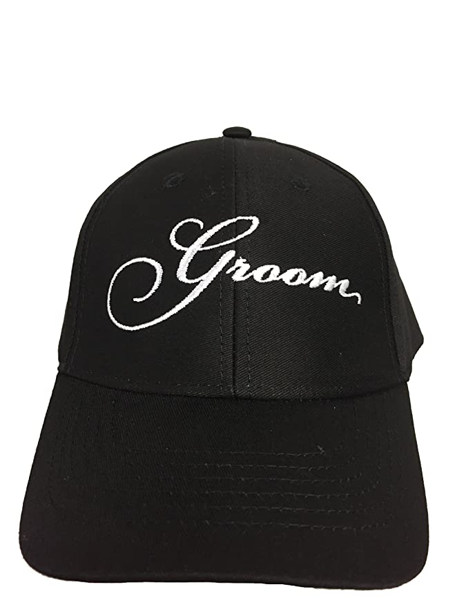ca22e063f5057 Amazon.com  GROOM Wedding Baseball Cap Black Hat with White Embroidery 100%  Cotton  Everything Else