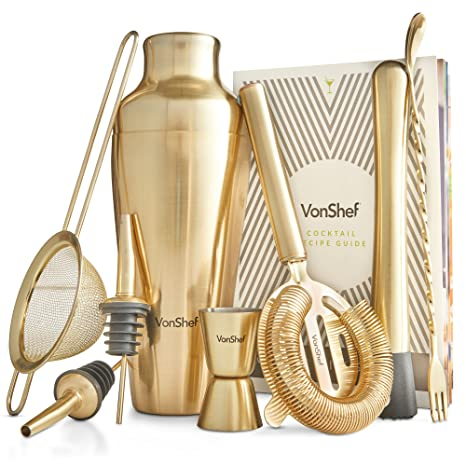 VonShef Premium Brushed Gold Parisian Cocktail Shaker Barware Set In Gift  Box With Recipe Guide,