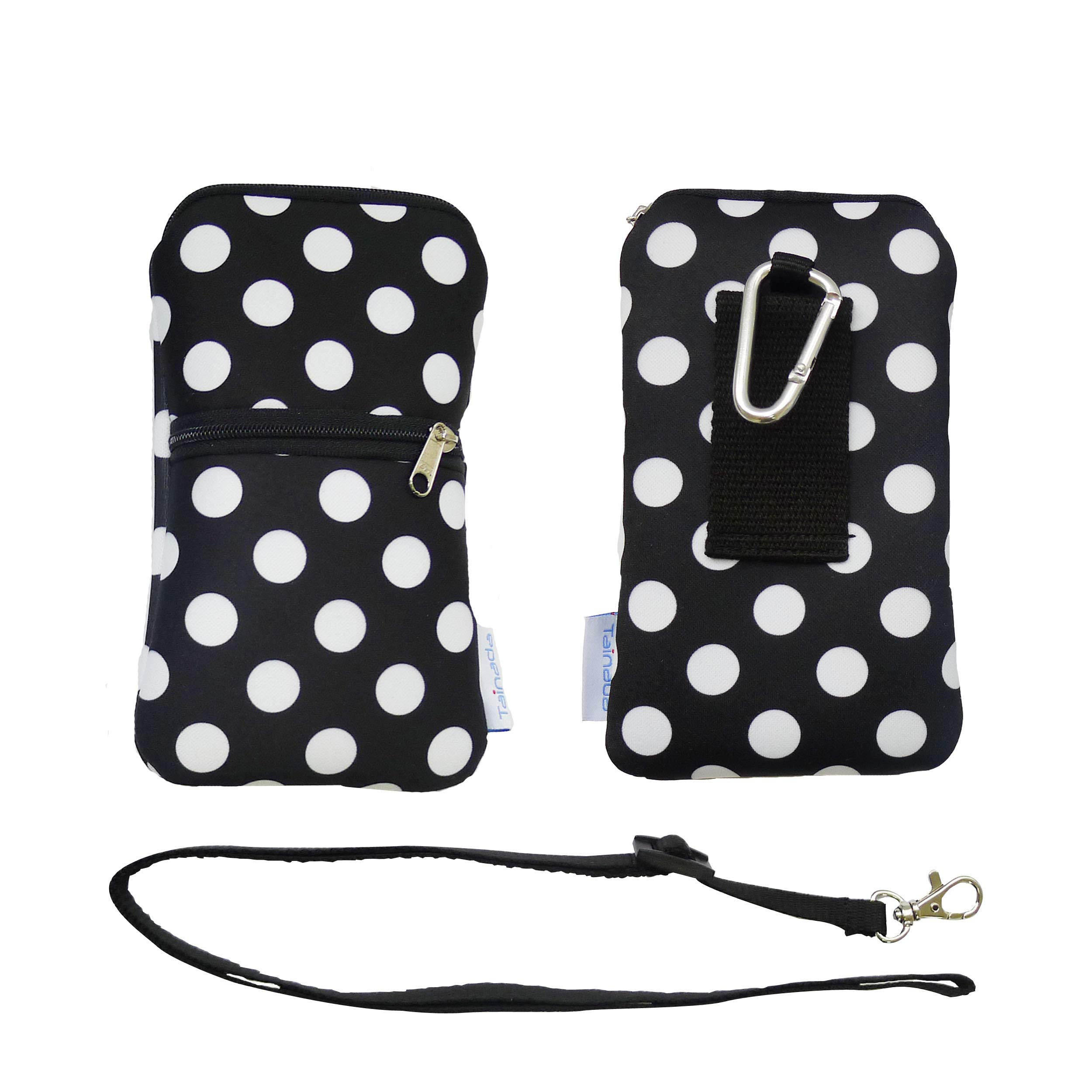 Tainada Women Neoprene Shockproof Dual Zippered Sleeve Phone Pouch with Carabiner, Neck Lanyard Strap, Holster for iPhone XR, Xs, Samsung S10+, Note 10, Google Pixel 3, 3a XL. (Polka Dots Black) by Tainada