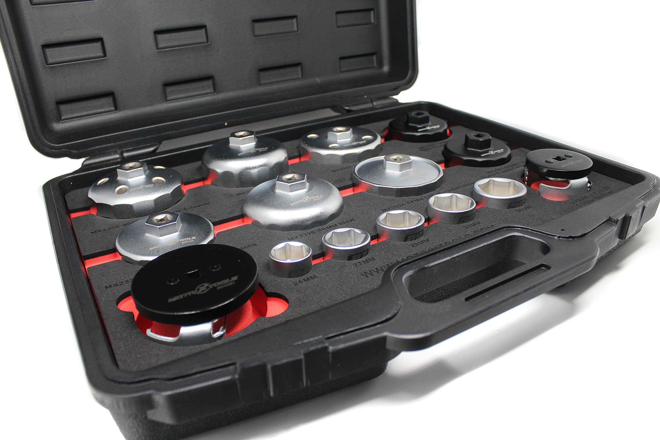 Motivx Tools Professional 15 Piece Oil Filter Wrench and Socket Set - Fits Toyota, Lexus, BMW, Volvo, Mercedes, and Many More