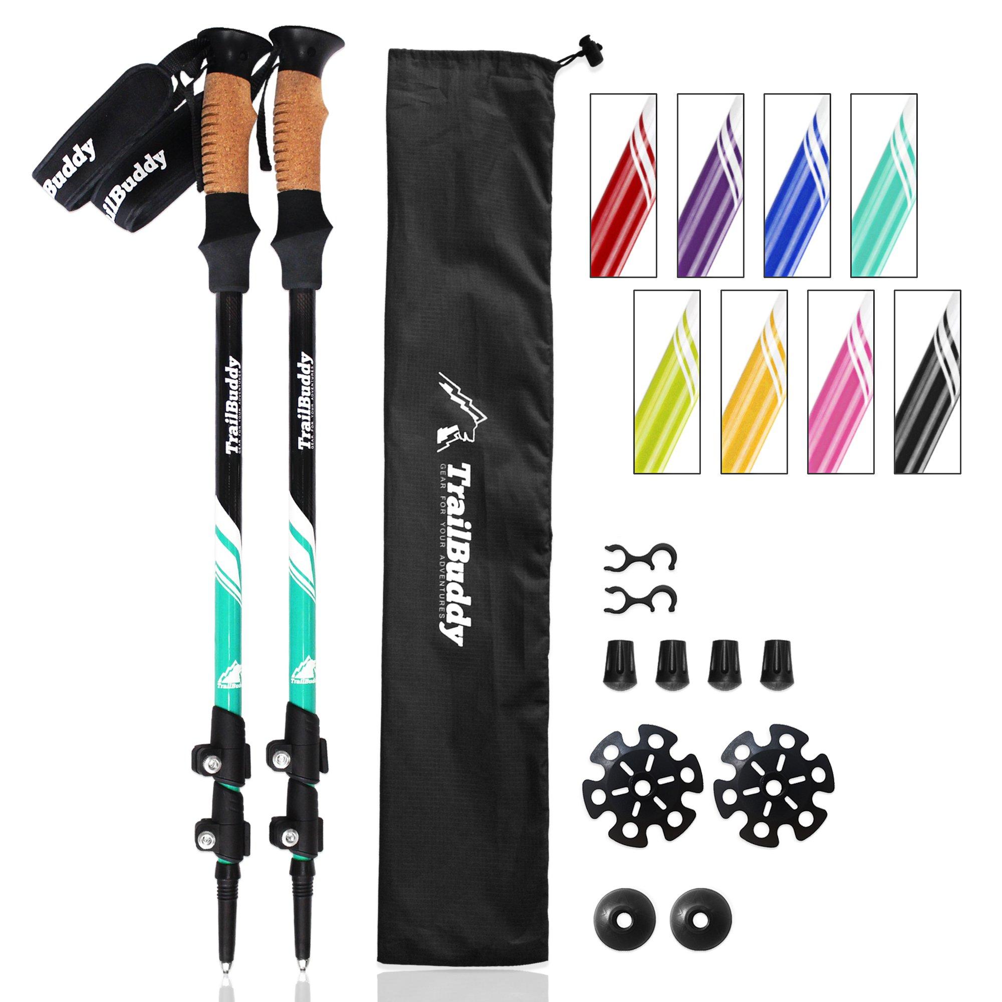 TrailBuddy Hiking Sticks - 2-pc Pack Adjustable Walking or Trekking Poles - Strong, Lightweight Aluminum 7075 - Quick Adjust Flip-Lock - Cork Grip, Padded Strap - (Aqua Sky)