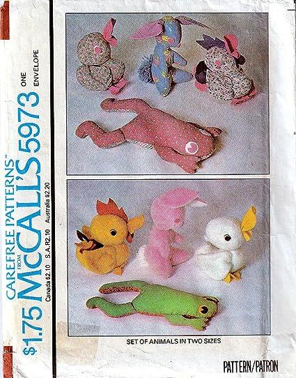 Amazon Mccalls 5973 Crafts Sewing Pattern Rabbit Duck Frog