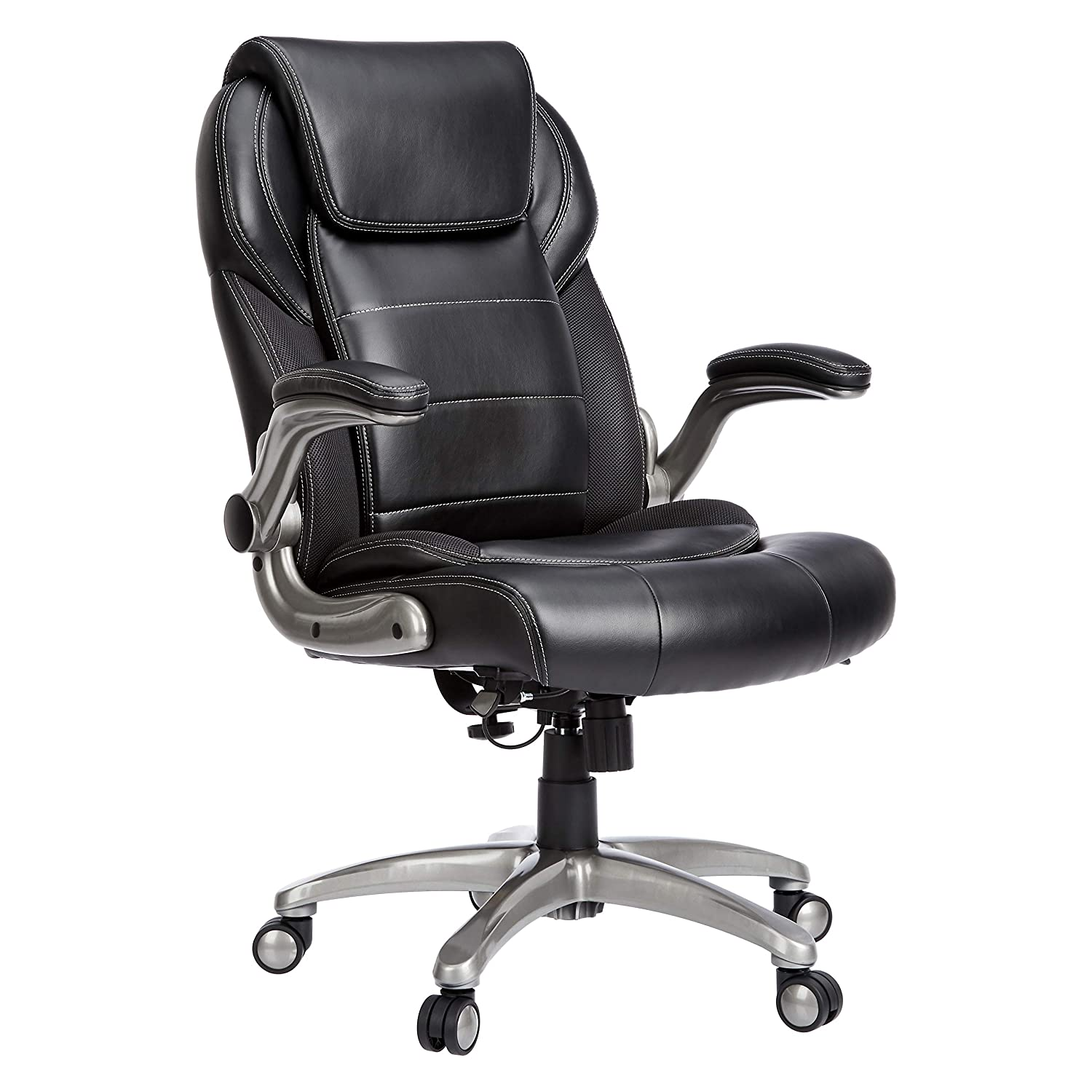 AmazonCommercial Ergonomic High-Back Leather Executive Chair with Flip-Up Arms and Lumbar Support, Black