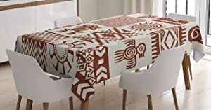 Ambesonne Southwestern Tablecloth, Frames with Patterns and Grunge Look, Rectangular Table Cover for Dining Room Kitchen Decor, 60