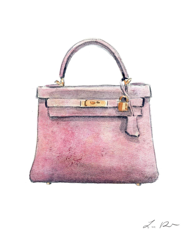 5b0991073510 Amazon.com  Hermes Kelly Bag Pink Art Print Watercolor Painting Wall Home  Decor Hermes Handbag Fashion Illustration Classic Designer Vintage Preppy  Pretty ...