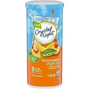 Crystal Light Sugar Free Peach Mango Green Tea Powdered Drink Mix, Low Caffeine, 1.85 oz Can (Pack of 12)