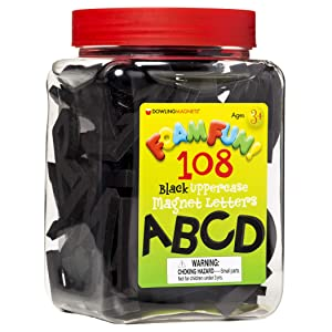 Dowling Magnets Foam Fun Black Uppercase Magnet Letters (1-2 inches high), Set of 108