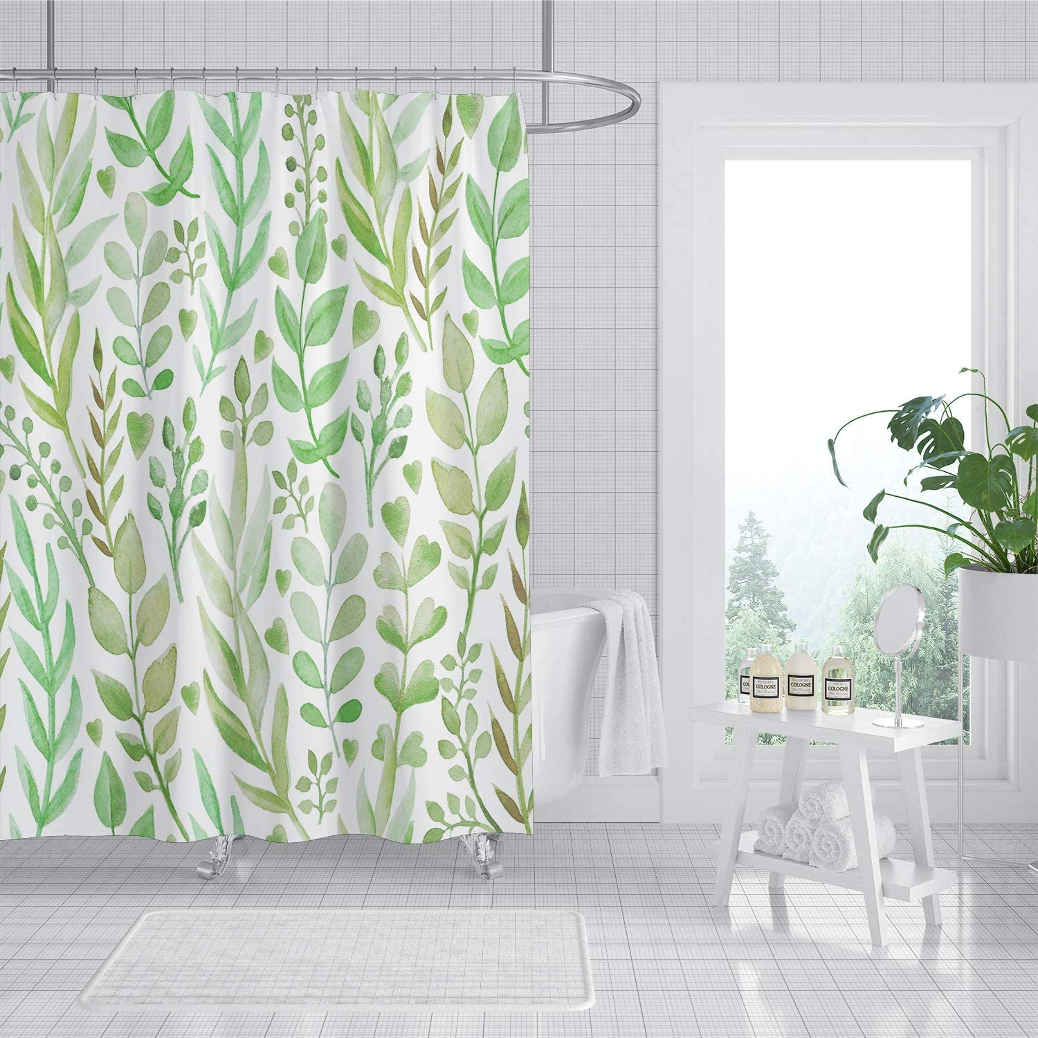 180x180cm Colorful Tree Leaves Waterproof Bathroom Shower Curtain With 12